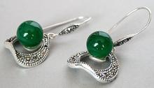 """10 MM Rond Vert Naturel gem Perles 925 Argent Crochet Marcassite Boucles D'oreilles 11/2"""""""