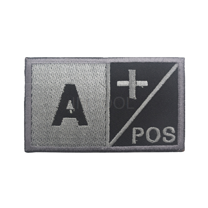 Large Blood A/B/O/AB Positive POS Negative NEG 3D Full Embroidery Patch Military Tactica ...