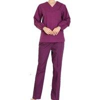 [SET] Women's long sleeve Scrubs Set Medical Nursing Uniform top and pant