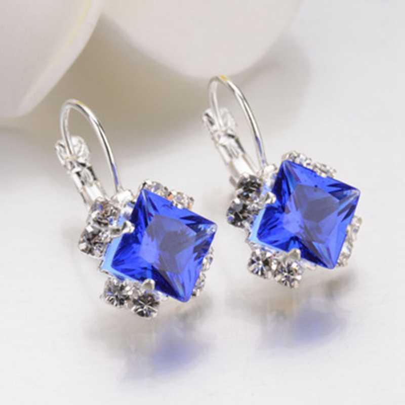 Moda Cor Prata Brincos Quadrados Roxo Preto Vermelho Azul Cristal Austríaco Strass Brinco Para As Mulheres da Jóia Do Casamento