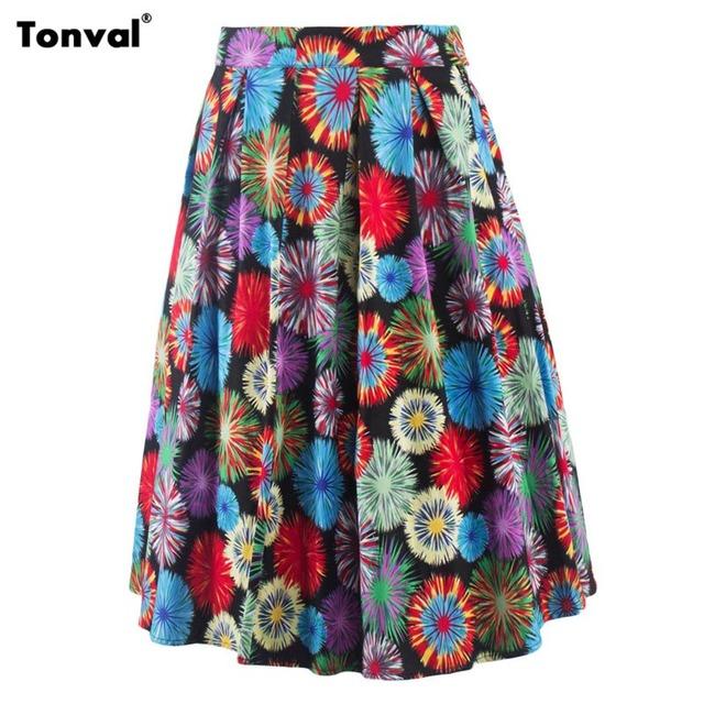 Tonval Retro Saias de Verão Das Mulheres Do Vintage Colorido de Impressão Balanço Falda Jupe Femme Pontos Saia Midi Saia Plissada