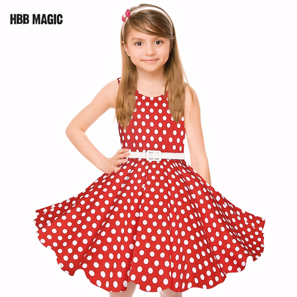 Classy Vintage Girl Dress With Belt Summer Cotton Dots Elegant Princess Dress Kids Party Wedding Dresses Girls Clothes Red,Black black red summer girls dress sleeveless cotton princess dress kids clothes elegant girls wedding party dress children clothing
