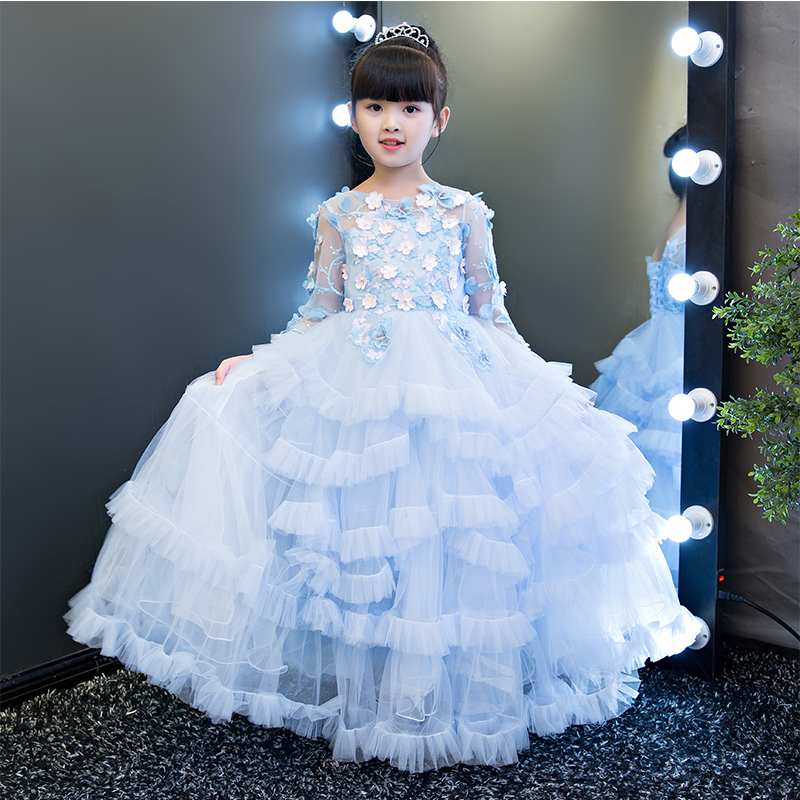2017New Luxury Children Flowers Tutu Princess Long Dresses Kids Wear  Ceremonies Birthday Wedding Girls Cake- 34ac7ca6a03e