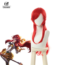 цена на ROLECOS Game LOL Lux Cosplay Hair LOL Battle Academia Prestige Lux Cosplay Headwear 70cm Synthetic Red Hair Long Hair for Women