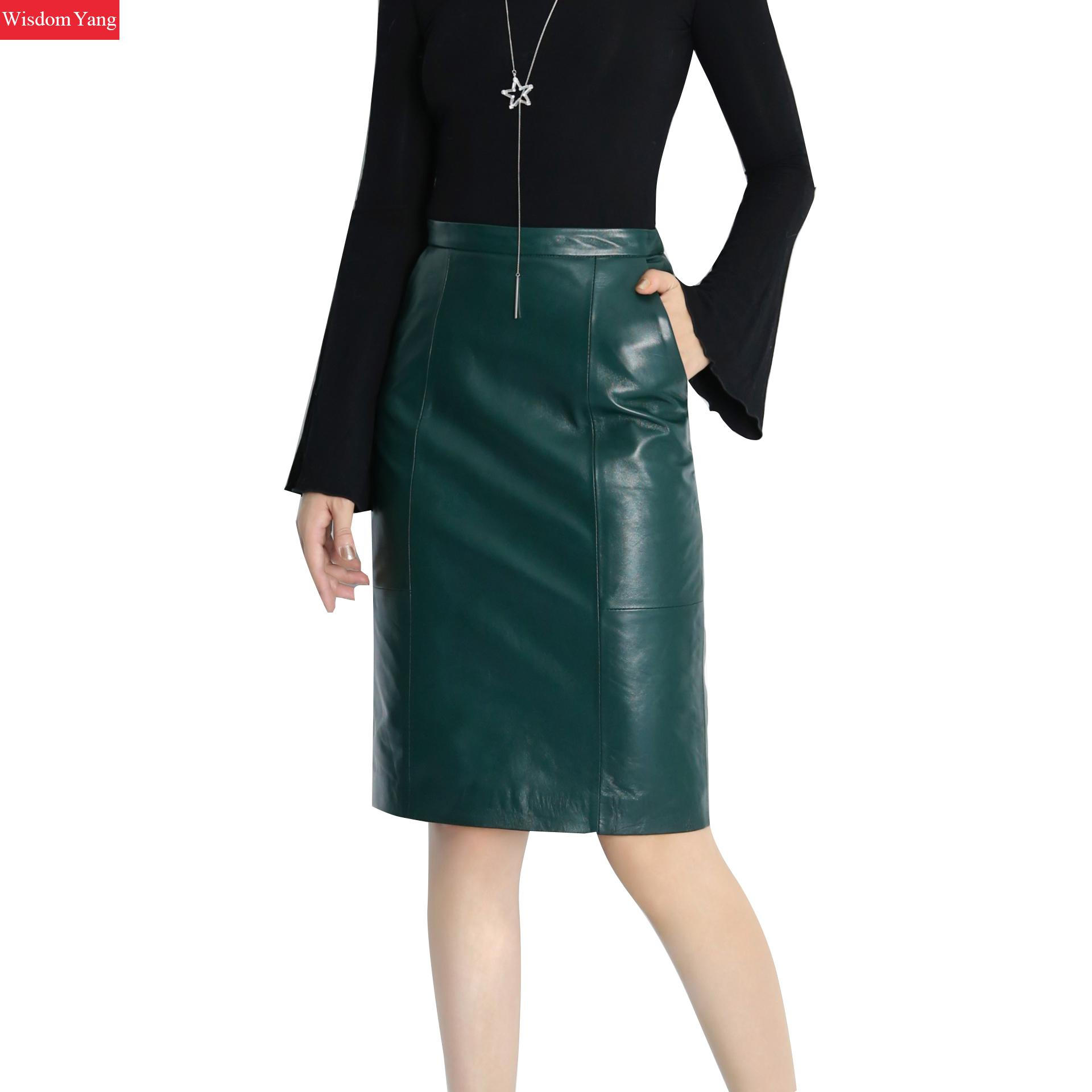 Black Green Real Genuine Leather Skirt High Waisted Midi Skirts Women Bodycon 2018 Office Sexy Party Sexy Ladies Pencil Sundress