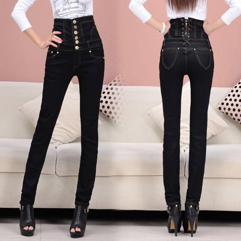 ФОТО TDV S - 6XL Promotion 2016 New European Style Skinny Show Thin High Waist Pencil Pants Women Black Sexy Denim Jeans Trousers