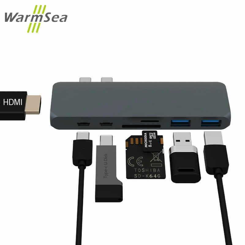 USB C moyeu TYPE C Thunderbolt 3 adaptateur USB-C Dock Dongle avec HDMI 4k PD USB 3.0 SD TF lecteur de carte pour MacBook Pro Air 13 15