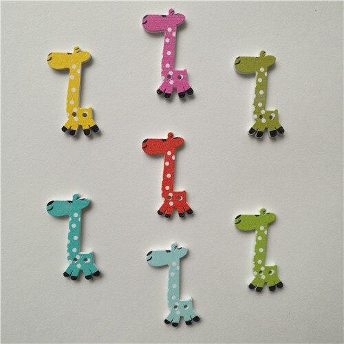 50 шт смешанные животные 2 отверстия деревянные пуговицы для скрапбукинга поделки DIY Детские аксессуары для шитья одежды пуговицы украшения - Цвет: giraffe