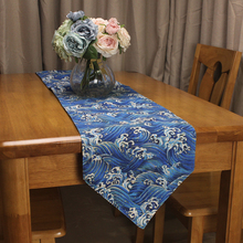 CURCYA Simple Japanese Style Sea Wave Table Runner Cotton Linen Double  Layer Pointed Table Runners For