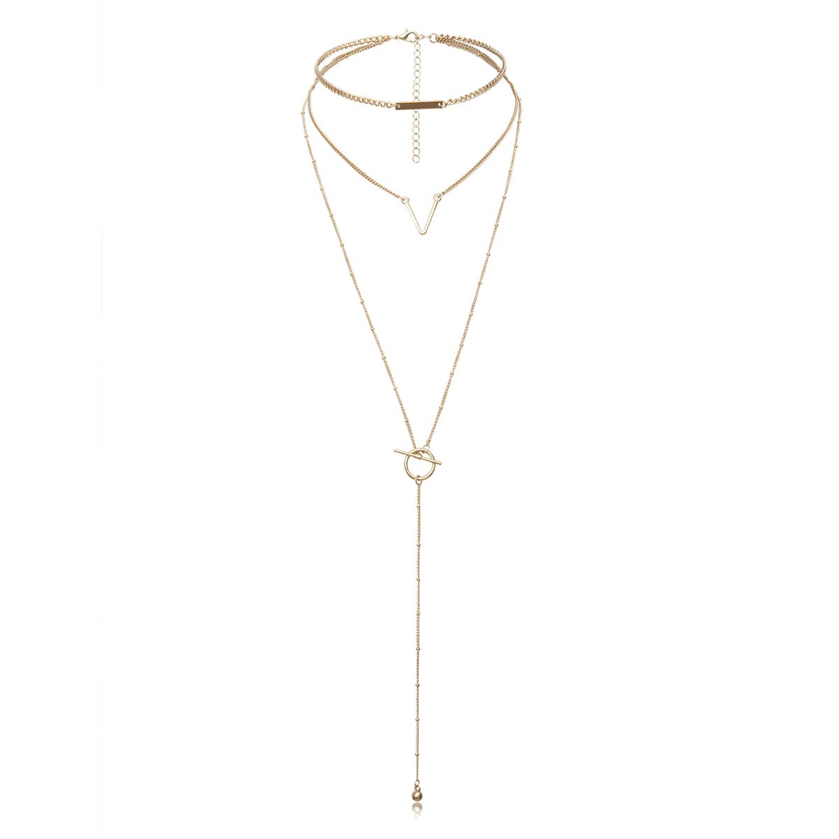 IngeSight Z Fashion Multi Layered V Shape Choker Necklace Collar Statement Round Circle lasso Long Chain Necklace Women Jewelry in Pendant Necklaces from Jewelry Accessories