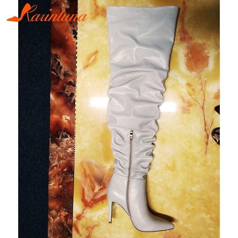 Rodilla Encima Femme Delgada Por Plisado Slouch Altas Tacones Botas Botte Karinluna Muslo Apricot La De Mujer Zapatos Talon Punta awFzBYqx