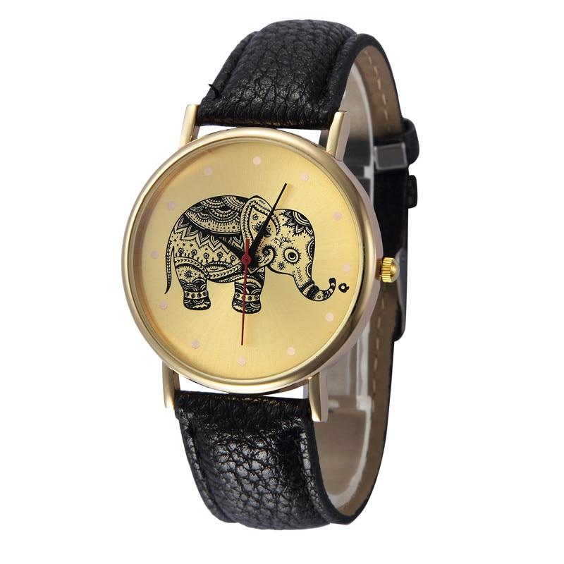 Hot Sale Elephant Print Dial Women Watch Leather Quartz Wristwatch New Fashion Round Dial Ladies Watches Clock Montre Femme #W