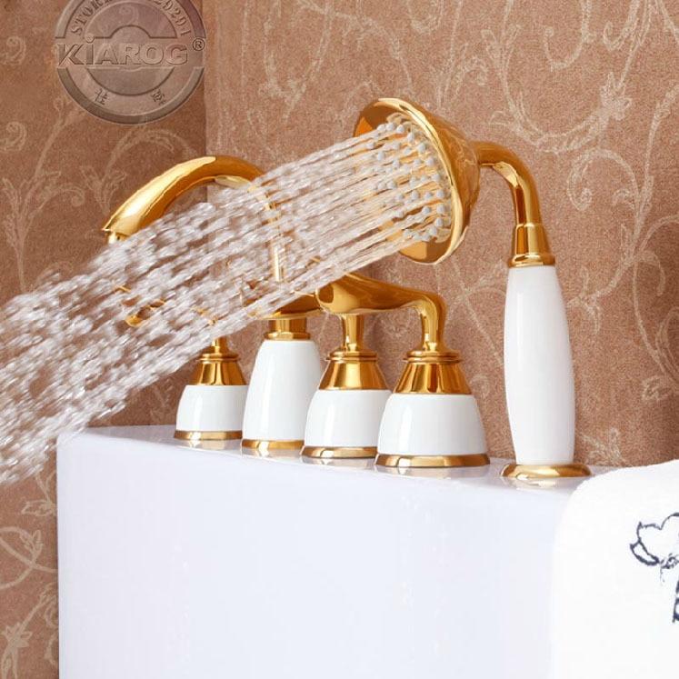 Three handle&One shower head bathtub Gold Faucet.Gold Tub water faucet. Bathroom gold tub Mixer Tap 5 sets GY-607S одежда для сна gold three pagodas