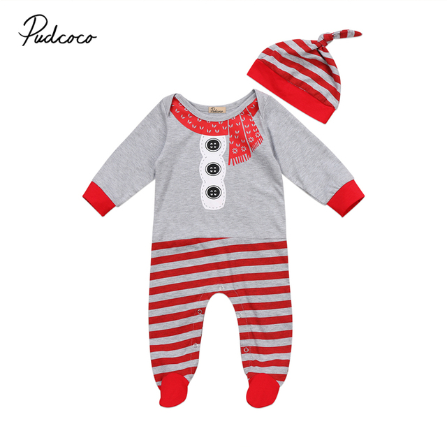 0338d6842 2 Pcs Babies Kid Cute Christmas Romper+Hat Outfits Newborn Baby Boys Girls  Xmas Santa Claus Rompers Infant Kids Clothes Outfits