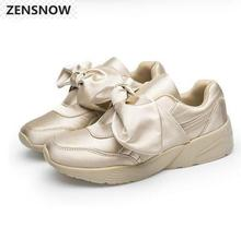 Spring Bowknot Female Casual Shoes Round Head Silk Satin Cloth Comfortable Single Pink Shoes 35----40Star leisure shoes
