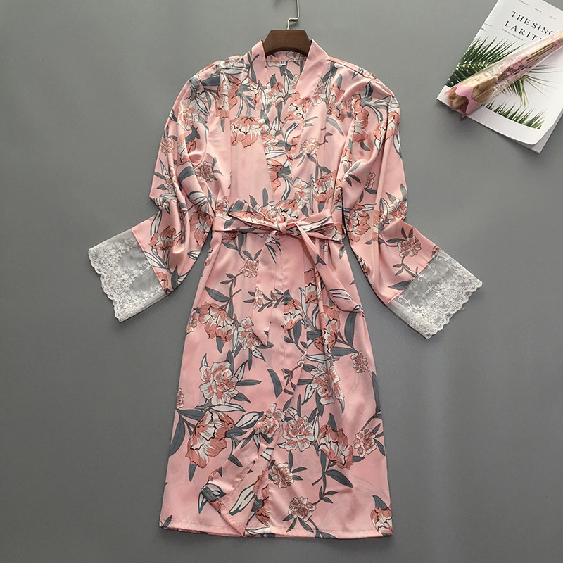 Image 3 - Summer Womens Sleep Robe Pajamas Sleepwear Lady Home Wear Nightgown Sexy Kimono Bath Gown Sleepshirts M XL-in Robes from Underwear & Sleepwears