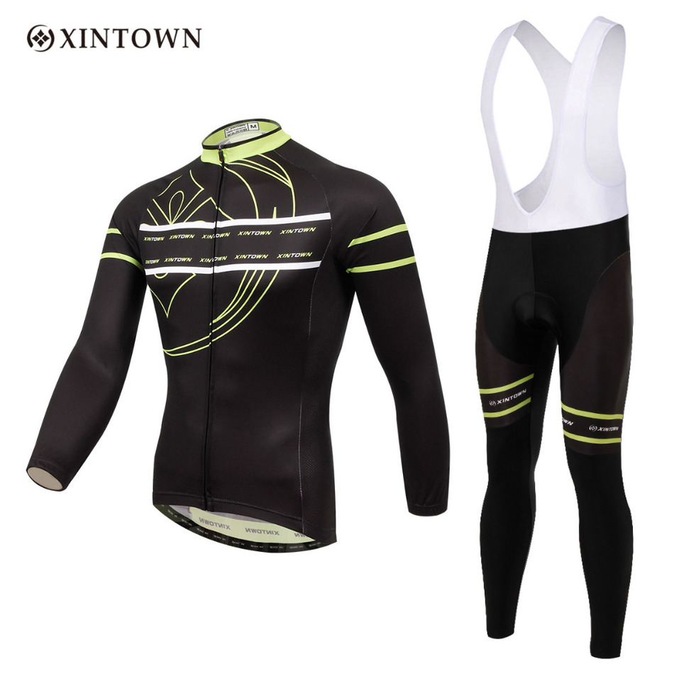 ФОТО 2017 Xintown Professional High Elasticity Cycling Jersey Sets 2 Color Outdoor Mtb Bike Riding Racing Wear Long Sleeve Clothing%