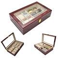 2019 nuevo 6 redes reloj de madera caso y 3 rejillas gafas cajas carcasa para horas vaina para horas caja para con horas