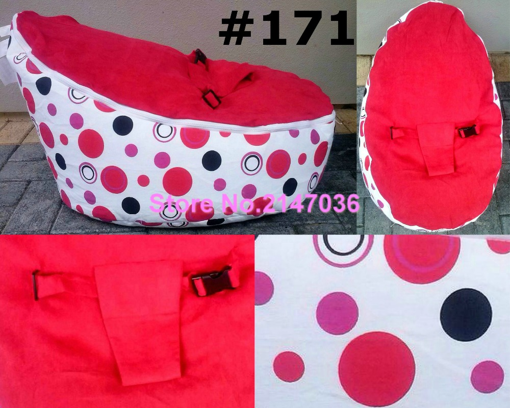 RED POLKA and Green CIRCLE Infant bean bag handy room baby chair red white polka