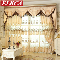 Luxury Classic Embroidered Coffee Beige Chenille Curtains For Living Room European Chenille Curtains Luxury Curtains For