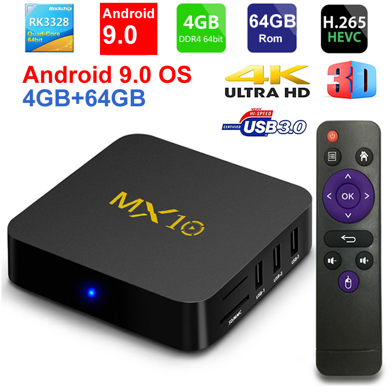2019 New MX10 Android TV BOX Android 9.0 RK3328 Quad core 4G RAM 64G ROM 3D 4K HDR10 H.265 USB 3.0 Media Player IPTV Set top BOX