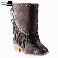 Женские ботинки из натуральной кожи с острым носком, на шнуровке, с бахромой, sapatos femininos, модные зимние теплые полусапожки на Высоком толстом