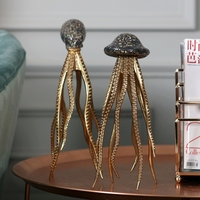 Retro Home Statues Sculpture Marine Life Decoration Accessories Resin Golden Squid Ornaments Decoration Octopus Home Decor Gift