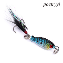 POETRYYI 5.3g 2.5cm Fishing Lure Minnow floating Isca Crankbait Bait Pesca Jig Hook With Feather Y30