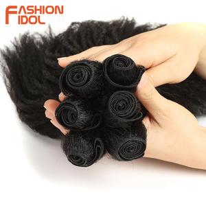 Image 4 - MODE IDOL Afro Verworrene Gerade Haarwebart 6Bundles Mit Closure Ombre Synthetische Haar Verlängerung 7 teile/los 16inch Für schwarz Frauen