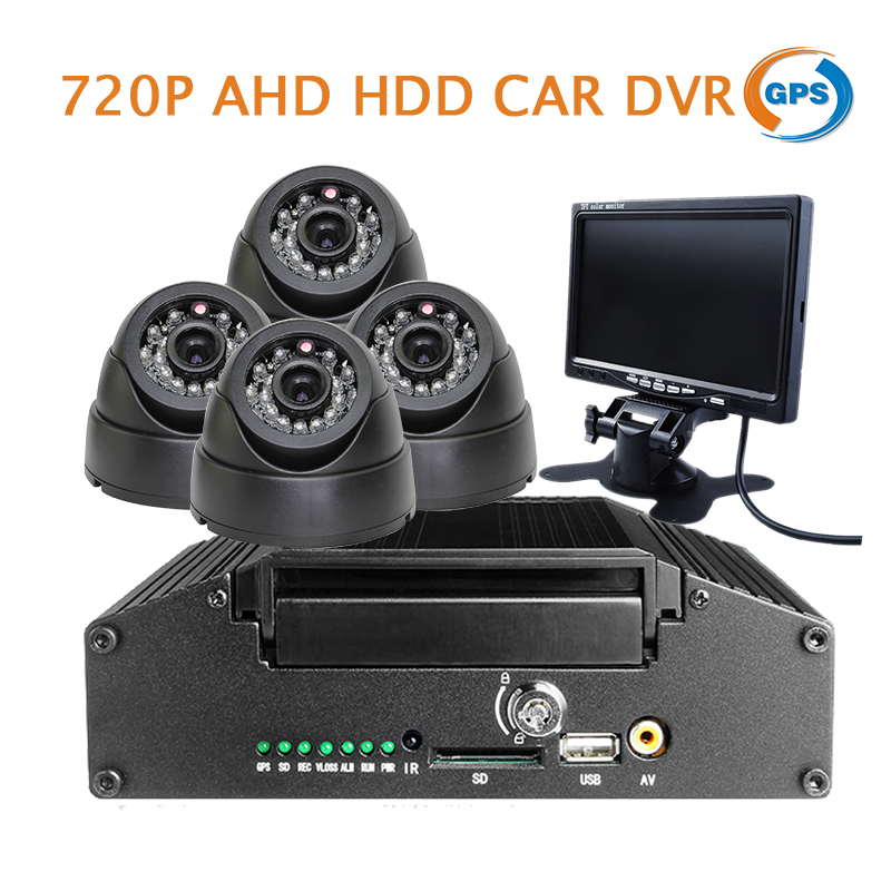 Free Shipping G-sensor H.264 I/O HDD 4CH 720P AHD GPS Car DVR Video Recorder IR Dome Car Camera 7
