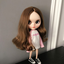 White Pink lythe Doll Clothing 1/6 Barbies Licca Long Letter Printing Hoodie Sweatshirt for Pullip Dolls AccessoriesT-shirt