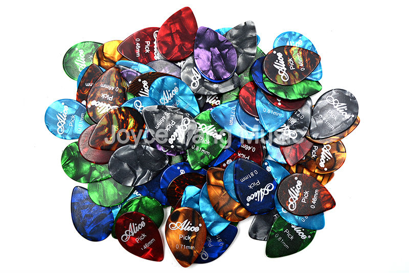 Lots of 100pcs Alice Small Tear Drop Pearl Celluloid Guitar Picks Plectrums 0.46/0.71/0.81mm Thin Medium