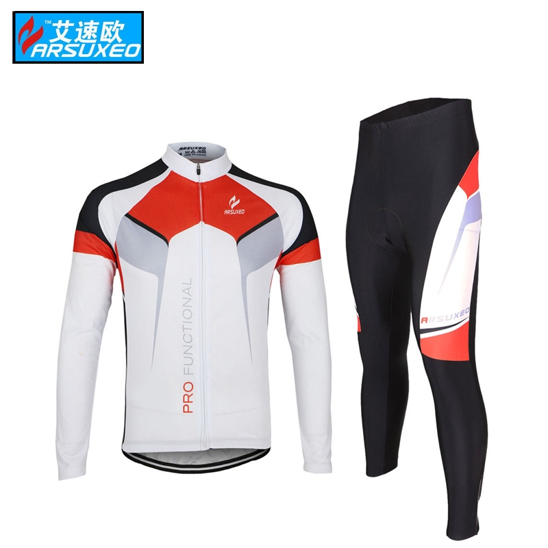 ARSUXEO Mens maillot ciclismo fiets kleding mannen Cycling Long Sleeves MTB Jersey Bike Bicycle Sets Shirts Wear Uniforms