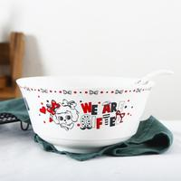 TPFOCUS 2Pcs Cute Pattern Ceramic Bowl Spoon Tableware Set for Kitchen Dining Room