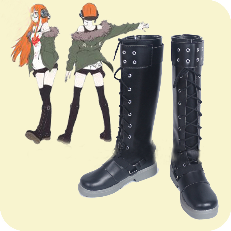 Persona 5 Navi Futaba Sakura Black Cosplay Shoes Boots Anime Halloween Carnival Costume Accessories