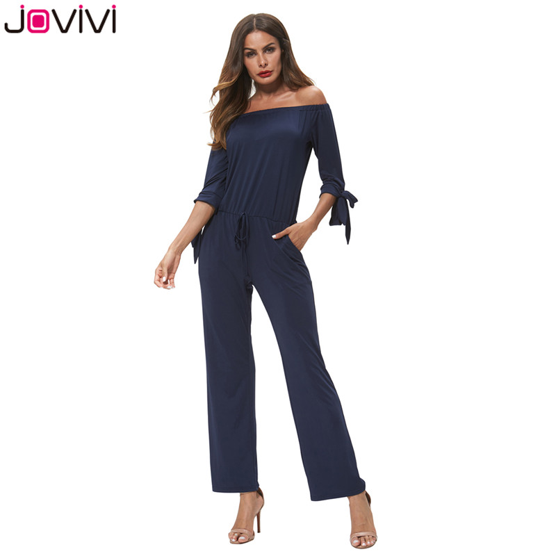 Women's Clothing Constructive Jovivi New Fashionable 1pc Womens Clubwear Playsuit Bodysuit Off-shoulder Party Jumpsuit & Romper Long Trousers Royal Blue Products Are Sold Without Limitations