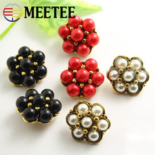 MEETEE 10pcs/lot high-quality 12.8mm-25mm metal White/ black/red pearl button shirt sweater Coat fashion clothing ZK819