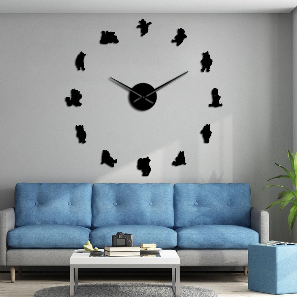 Classic Animated Cartoon DIY 3D Acrylic Wall Clock Watch Frameless Long Hands Animation Duvar Saati Nursery Room Decor Kid Gift