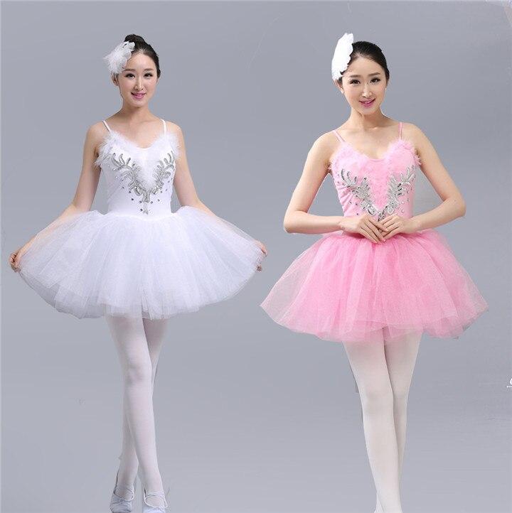 White Swan Lake Ballet Dress Adult Professional Platter Tutu Dress Sequins Women Girls Ballerina Dress Straps Ballet Costumes