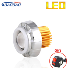 BAOBAO 6000k 2200Lum Universal Motorcycle Led Projector Lens 3500lm Front Modified Lamp Double Angel Devil Eye V05 Headlights