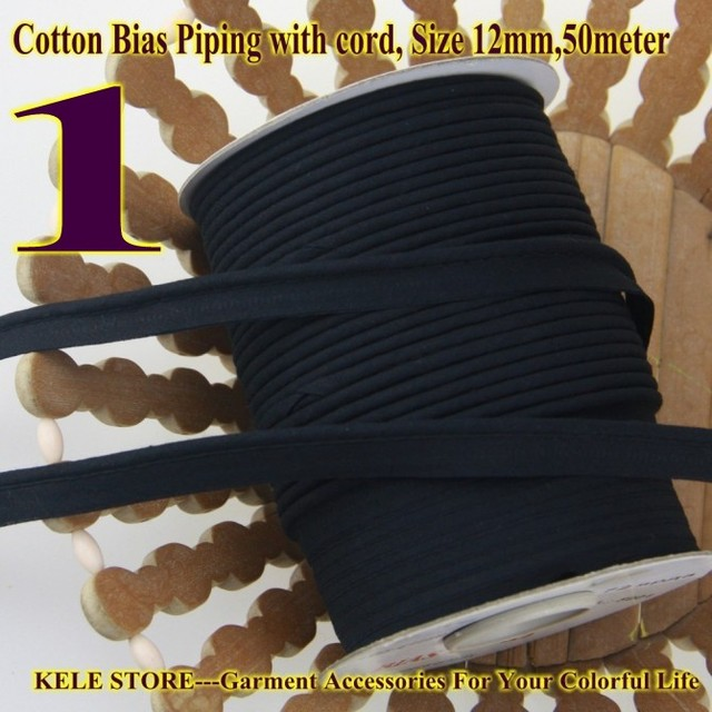 Free shipping  100% Cotton Bias Piping, Piping tape,bias Tape with cord,size:12mm,50yds,for DIY sewing textile solid col Black