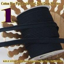 Freies verschiffen    100% Baumwolle Bias Rohrleitungen, leitungsband, schrägband mit schnur, größe: 12mm, 50yds, für DIY nähen textile solide col Schwarz