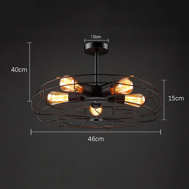 Vintage 5Heads E27 E26 Ceiling Lights  Black Iron Retro Industrial Fan Ceiling Lights American Country Kitchen Loft Ceiling Lamp for Bar Loft Decor  (17)