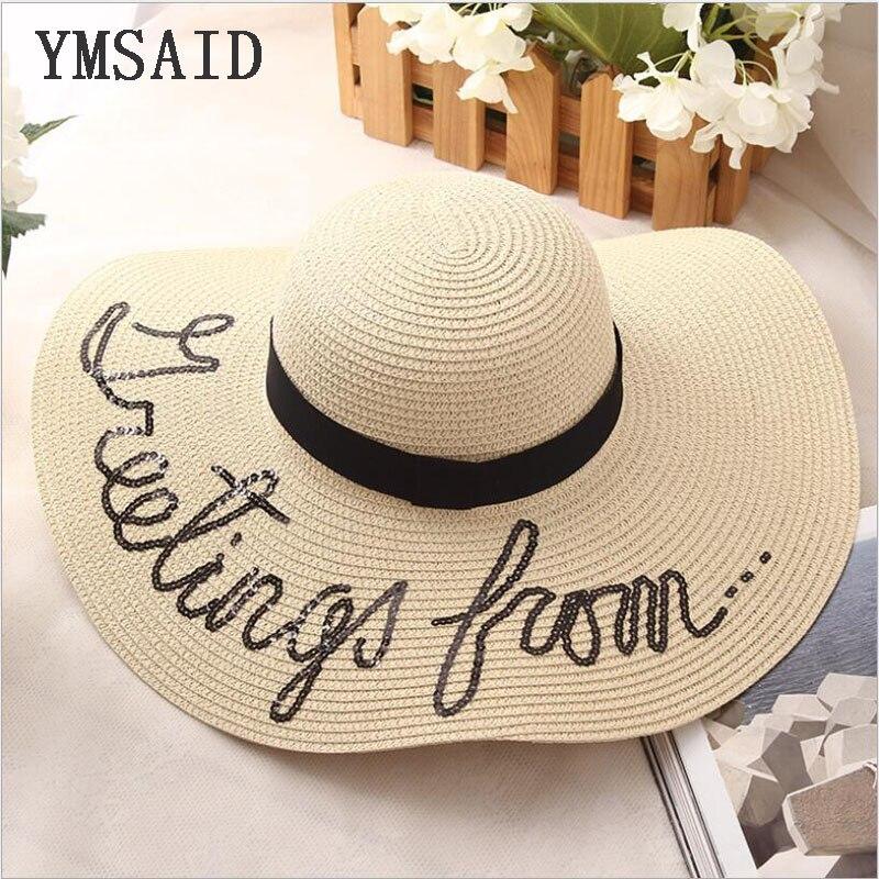 c2ac7d893f6fa De ala ancha sombreros de paja de las mujeres de la playa sombrero damas sombrero  de