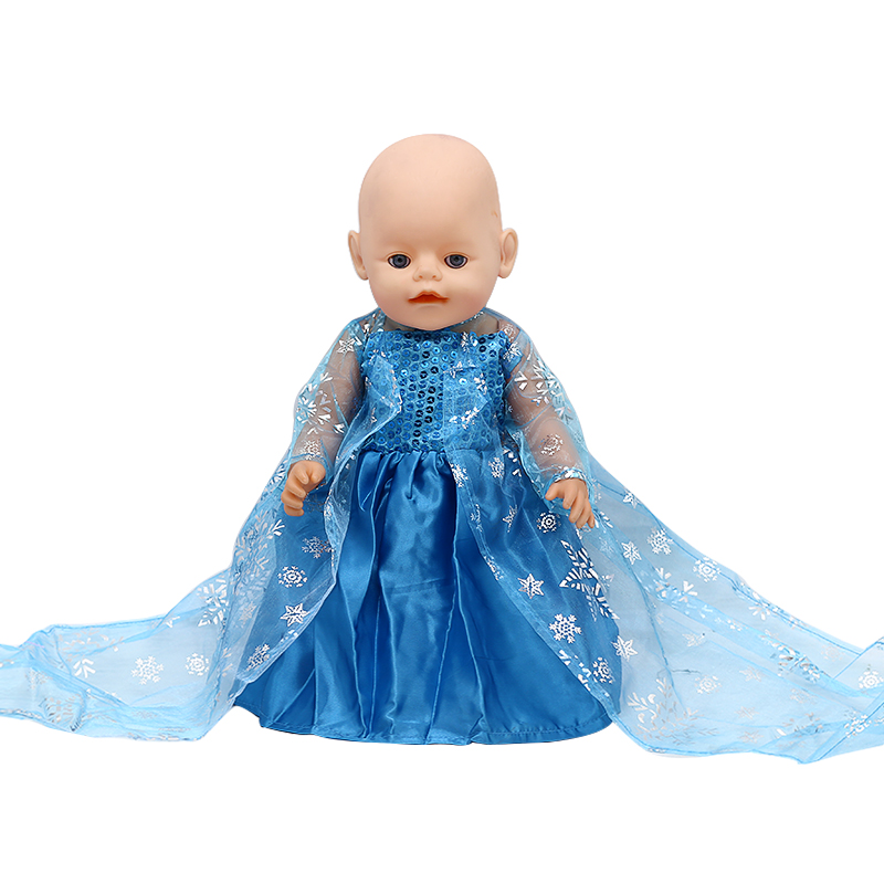 Zapf Baby Born Doll Clothes Elsa Blue Lace Long Princess