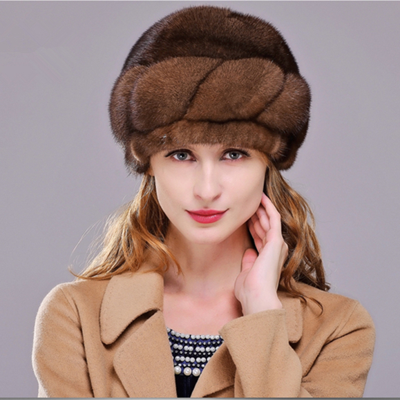HM007 Winter hats for women Real genuine mink  fur hat  women's winter hats whole piece mink fur hats women s winter beanie hat wool knitted cap shining rhinestone beanie mink fur pompom hats for women