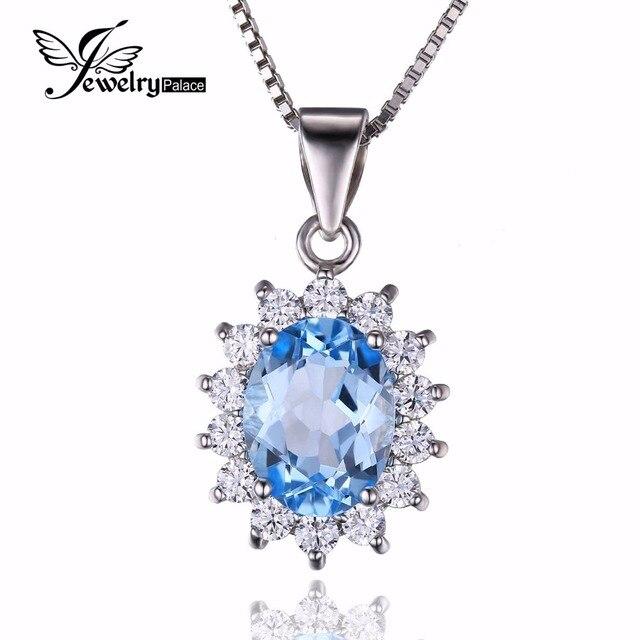 Jewelrypalace Принцесса Диана Уильям Кейт Halo 2.3ct Природный Голубой Топаз Подвеска Стерлингового Серебра 925 Не Включает В Себя Цепь 2016 Новый