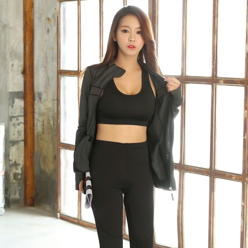 ФОТО High Quality 3 Pieces Fitness Women Yoga Set Black Bar & Zipper Jacket & Pants Gym Clothes Sport Wear Running Outdoor Jog