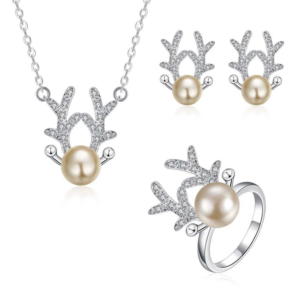Jemmin New Fashion Jewelry Cute Deer Horn Antlers Pearl 925 Sterling Silver Necklace Earring Ring Wedding Party Jewelry SetJemmin New Fashion Jewelry Cute Deer Horn Antlers Pearl 925 Sterling Silver Necklace Earring Ring Wedding Party Jewelry Set