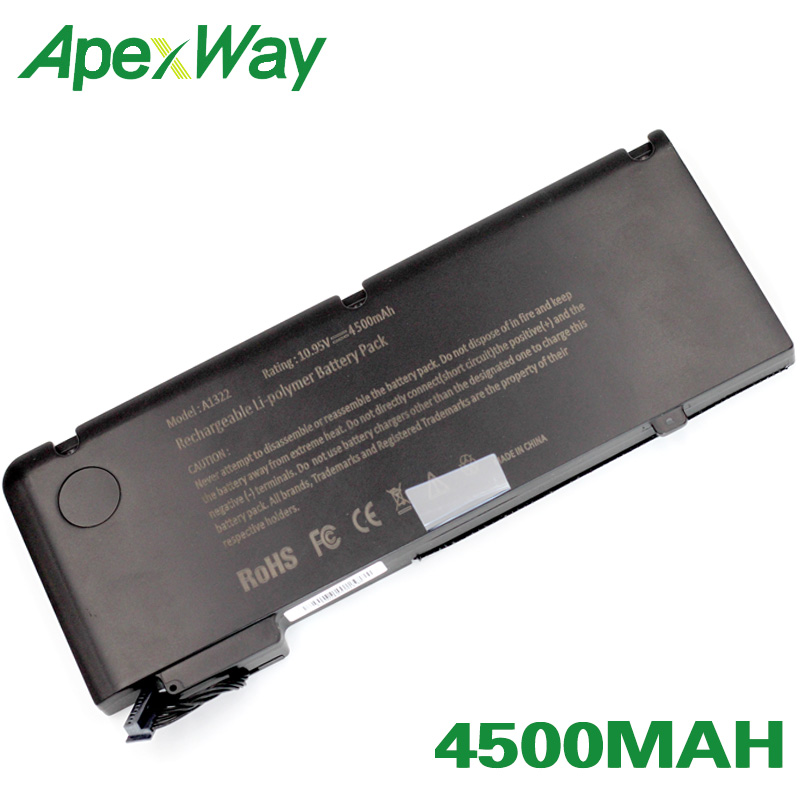 ApexWay 10.95V 4500mAh Battery For APPLE A1322 For MacBook Pro 13 A1278 (2009 VERSION)  MB991 MB990LL/A  MB991LL/AApexWay 10.95V 4500mAh Battery For APPLE A1322 For MacBook Pro 13 A1278 (2009 VERSION)  MB991 MB990LL/A  MB991LL/A